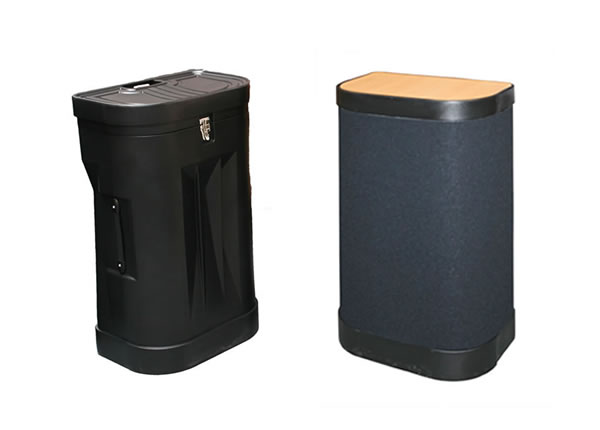 Pop up stand wheeled case with and without case wrap.